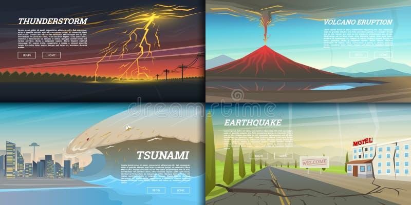 Uppsättning av naturkatastrof eller katastrofer Katastrof- och krisbakgrund Realistisk tromb eller storm, blixtslag stock illustrationer