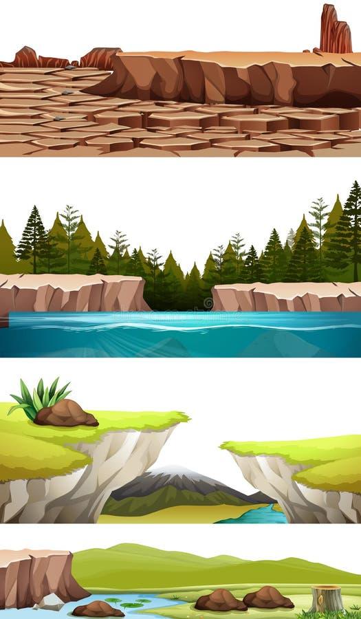Uppsättning av naturlandskapet royaltyfri illustrationer