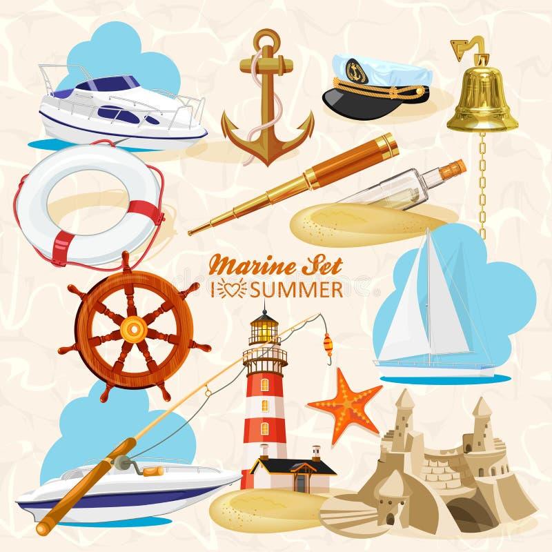 Uppsättning av nautiska beståndsdelar stock illustrationer