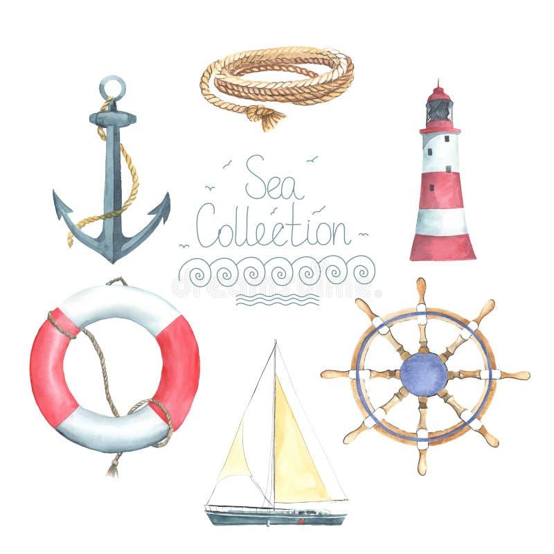 Uppsättning av nautiska beståndsdelar royaltyfri illustrationer