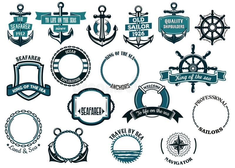 Uppsättning av nautiska eller marin- themed symboler och ramar royaltyfri illustrationer