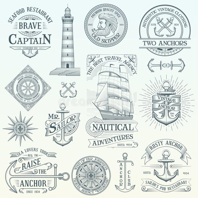 Uppsättning av nautiska etiketter för tappning royaltyfri illustrationer