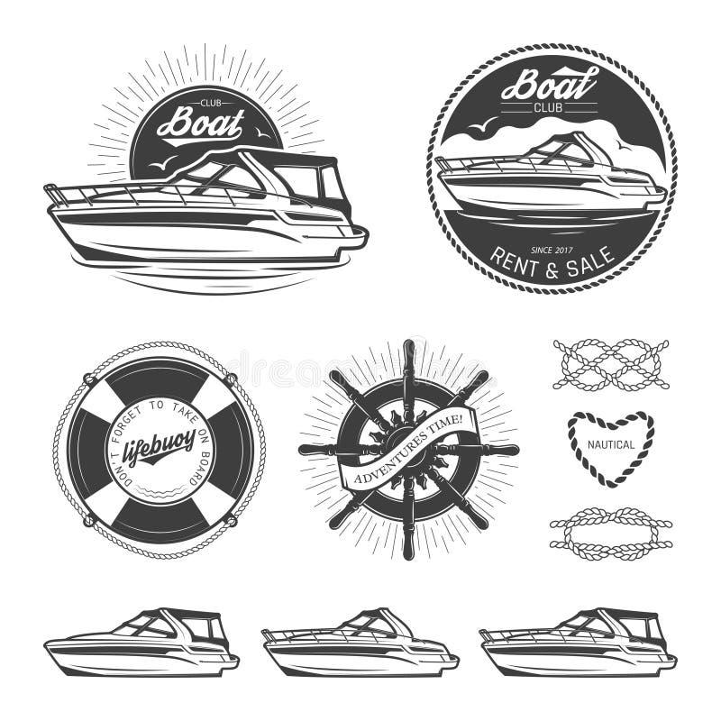 Uppsättning av nautiska logoer vektor illustrationer
