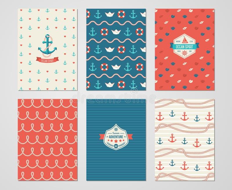 Uppsättning av nautiska och marin- baner och reklamblad royaltyfri illustrationer