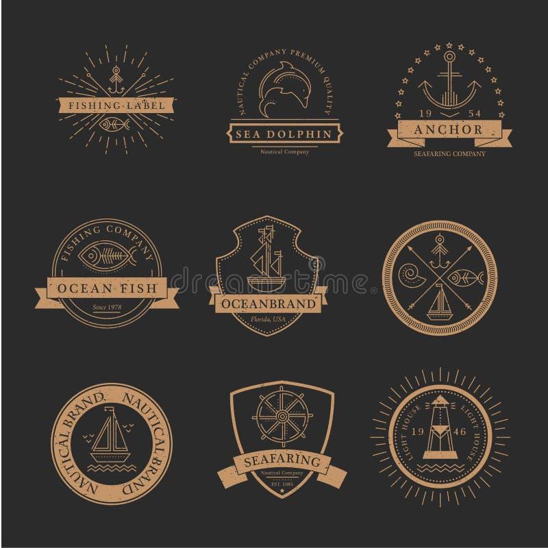 Uppsättning av nautiska sjöfarande emblem, etiketter och logoer royaltyfri illustrationer