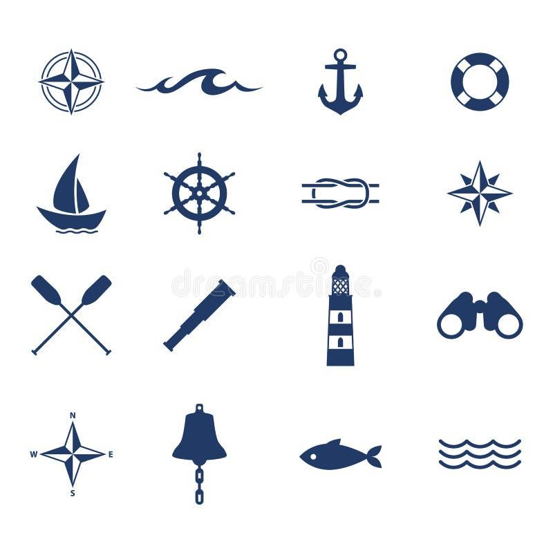 Uppsättning av nautiska symboler för havshavsegling royaltyfri illustrationer