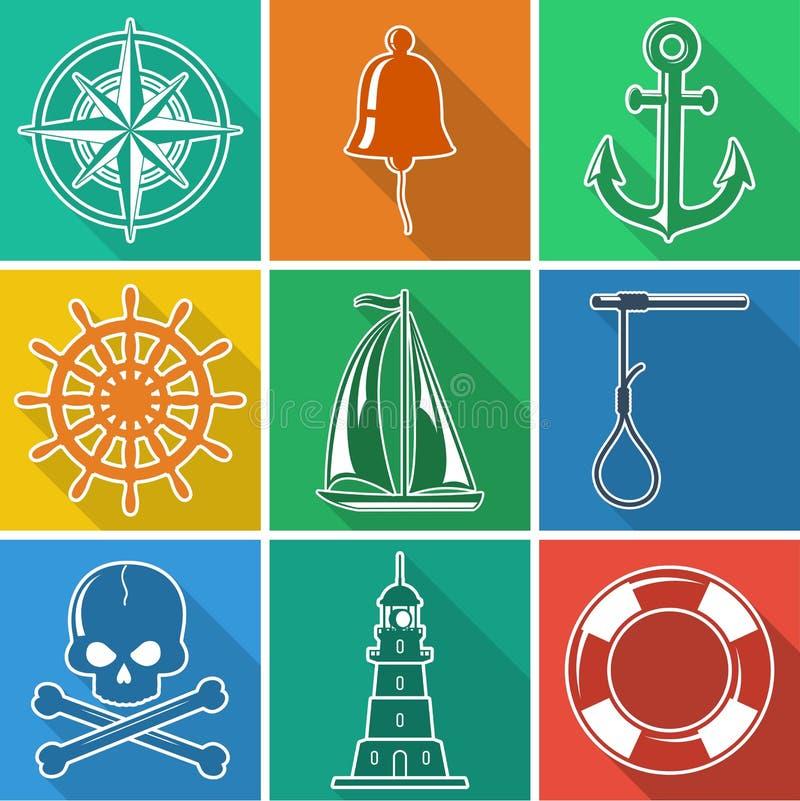 Uppsättning av nautiska symboler för mördegstårta vektor illustrationer