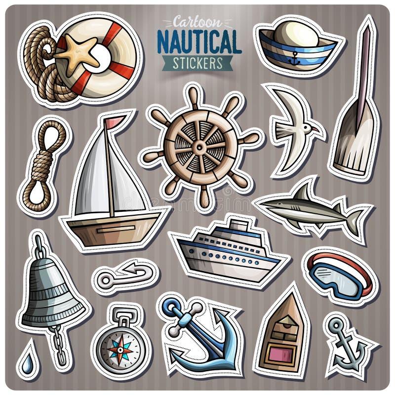 Uppsättning av nautiska vektortecknad filmklistermärkear stock illustrationer