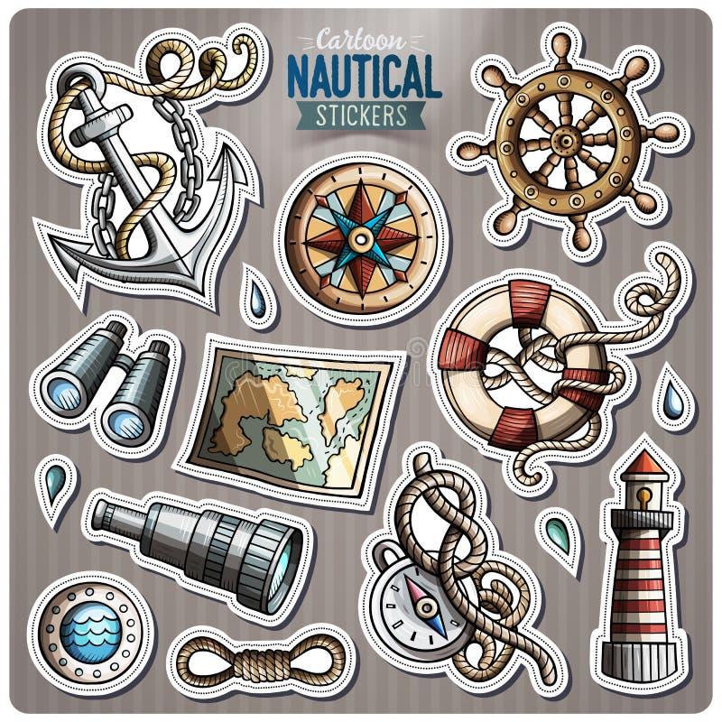Uppsättning av nautiska vektortecknad filmklistermärkear vektor illustrationer