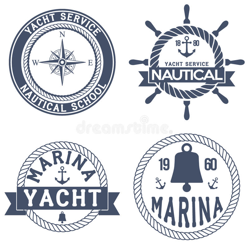 Uppsättning av nautiska yachtemblem vektor illustrationer