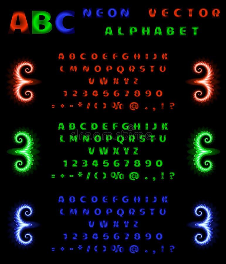 Uppsättning av neonalfabet och nummer på en svart bakgrund Röd, blå grön neonlutning också vektor för coreldrawillustration royaltyfri illustrationer