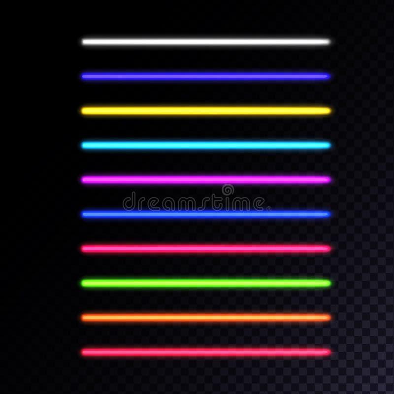 Uppsättning av neonlampor royaltyfri illustrationer