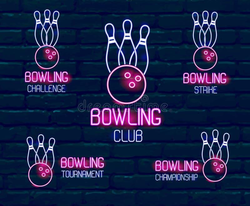 Uppsättning av neonlogoer i rosa färg-blått färger med käglor, bowlingklotsamling av 5 tecken för vinterbowlingturnering, vektor illustrationer