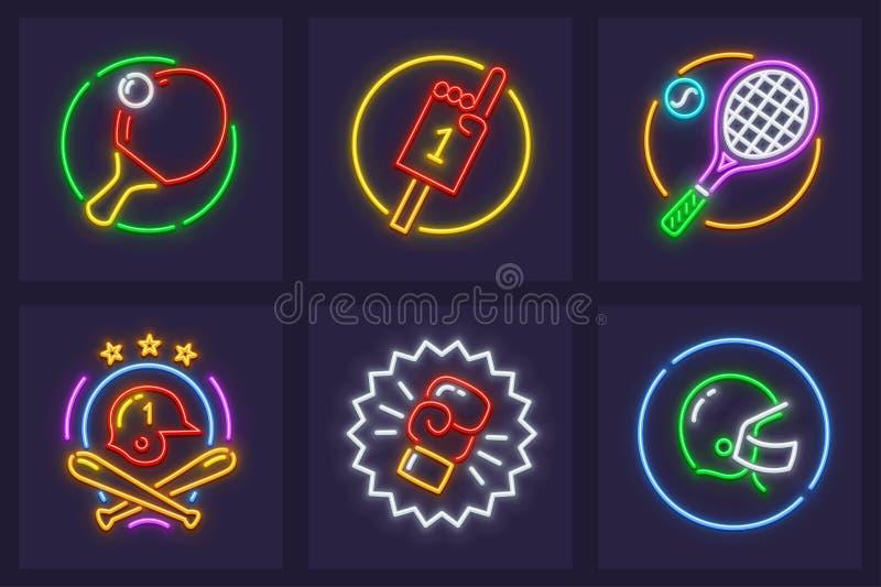 Uppsättning av neonsymboler för sportsliga lekar royaltyfri illustrationer