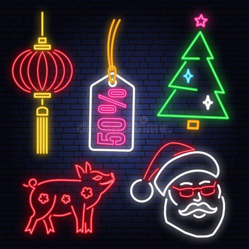 Uppsättning av neontecknet 2019 för lyckligt nytt år med Santa Claus, svinet, julträdet, etiketten och kineslyktor royaltyfri illustrationer