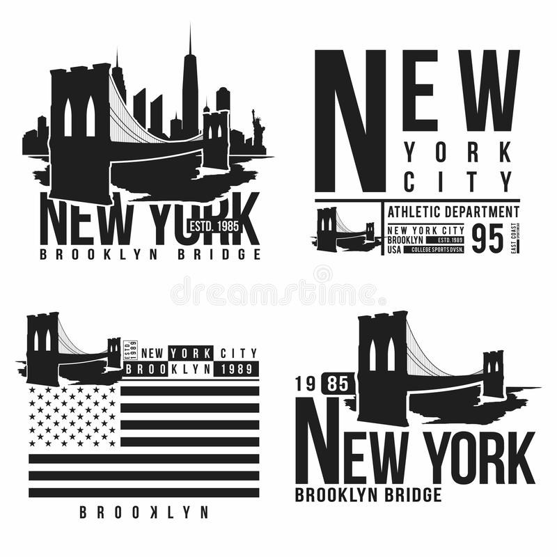Uppsättning av New York, Brooklyn brotypografi för t-skjorta tryck Stiliserade konturer för Brooklyn bro Utslagsplatsskjortadiagr royaltyfri illustrationer