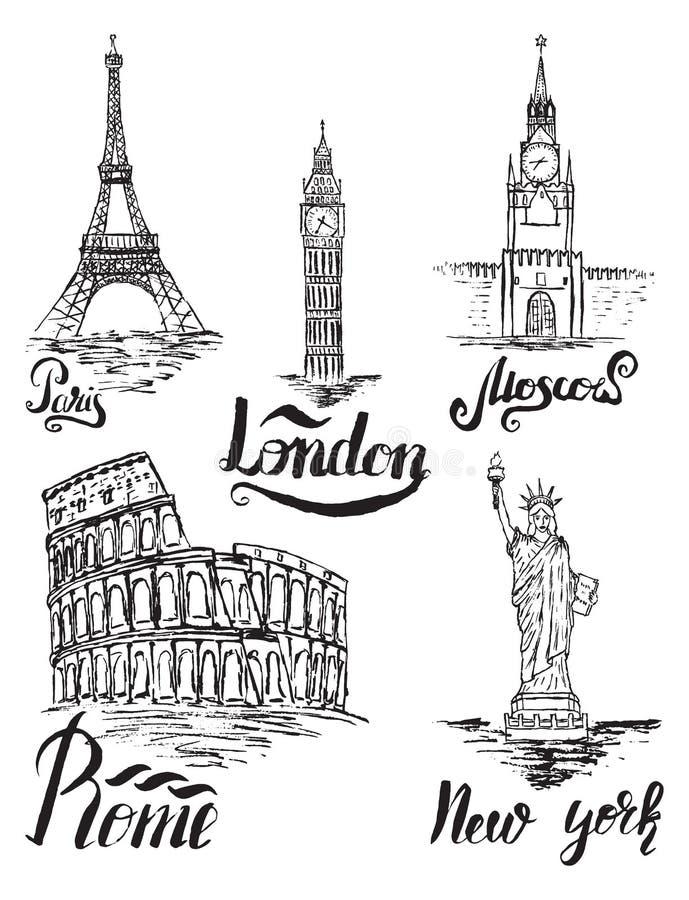 Uppsättning av New York, Moskva, Paris, Rome, London etiketter vektor illustrationer