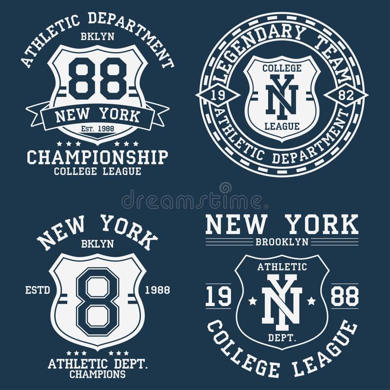 Uppsättning av New York, NY-tappningdiagram för t-skjorta Samlingen av original- kläder planlägger med skölden och nummer Dräktty vektor illustrationer
