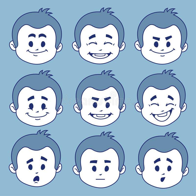 Uppsättning av nio ansiktsuttryck royaltyfri illustrationer