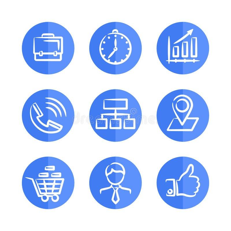 Uppsättning av nio blåa affärssymboler på runda ramar royaltyfri illustrationer