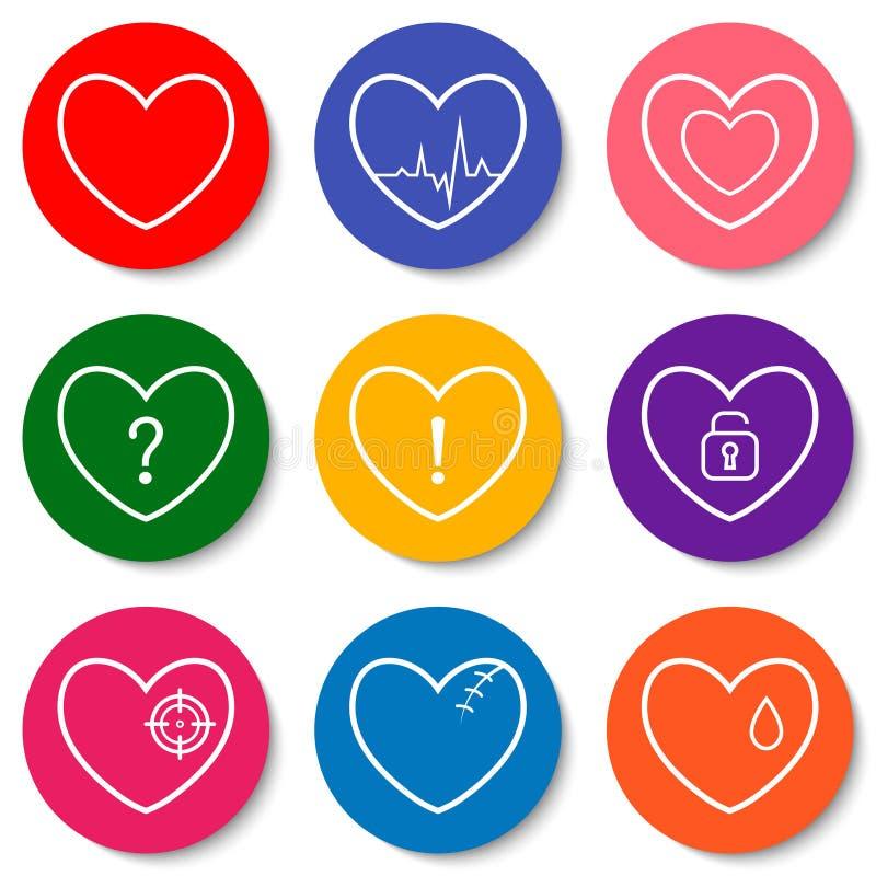 Uppsättning av nio färgrika plana hjärtasymboler Dubbla hjärtor, bruten hjärta, hjärtslag, låst hjärta Valentine Day symboler stock illustrationer