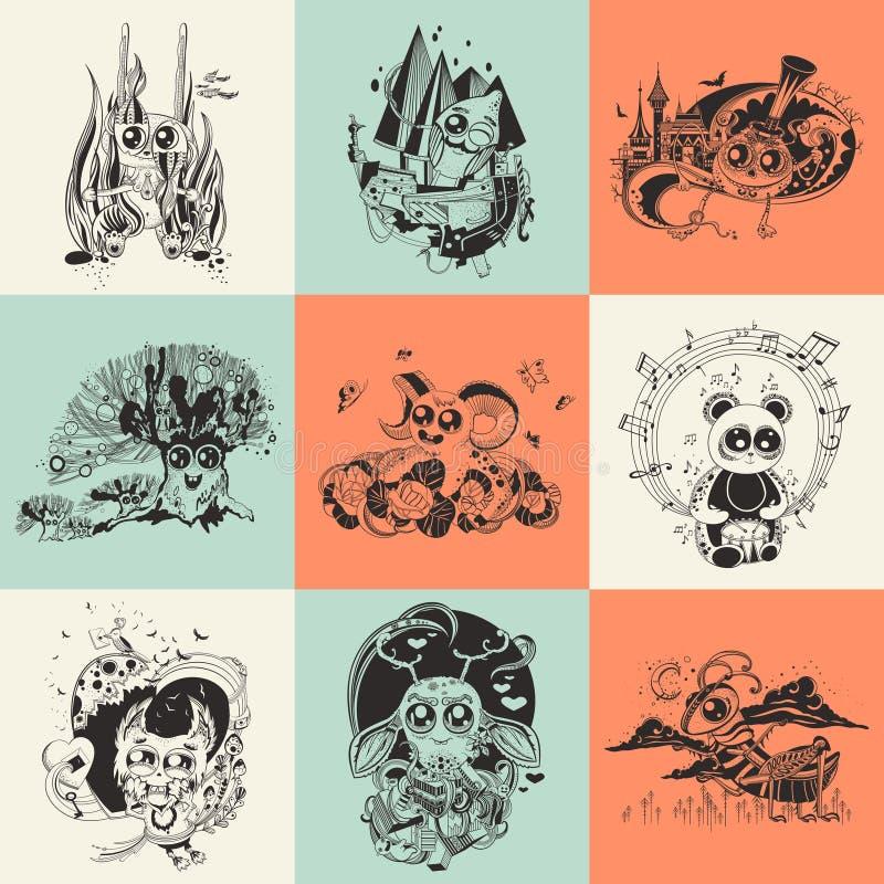 Uppsättning av nio illustrationer med den drog handen stock illustrationer