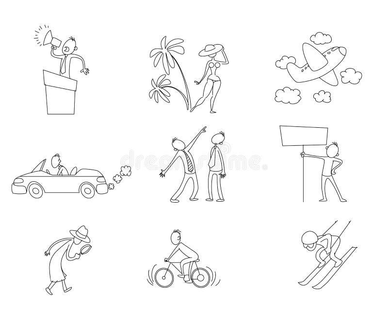 Uppsättning av nio olika lägen stock illustrationer