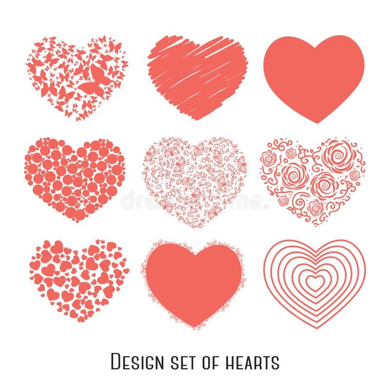 Uppsättning av nio stencilhjärtor för design vektor illustrationer