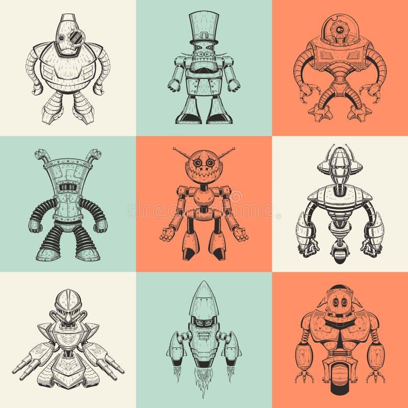 Uppsättning av nio vektorillustrationer med tecknade filmen vektor illustrationer