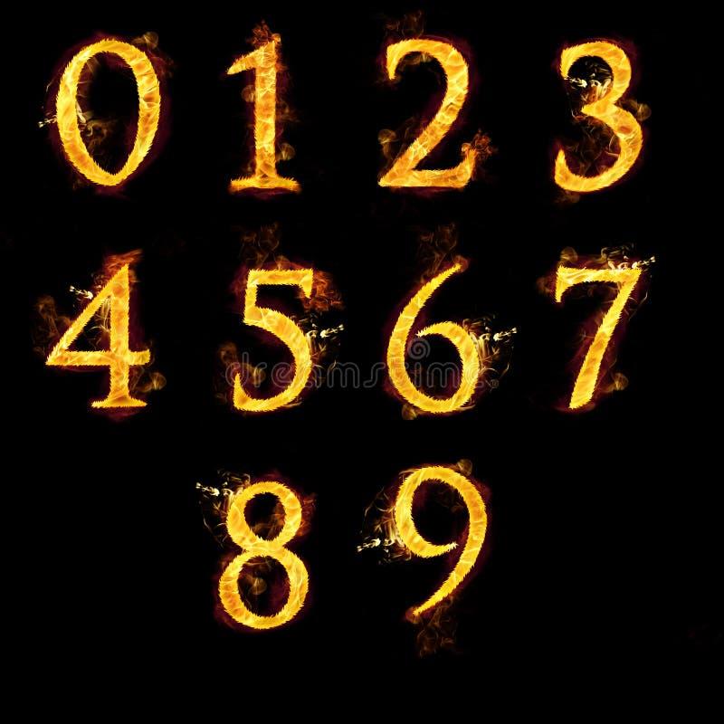 Uppsättning av nummer i flammor vektor illustrationer