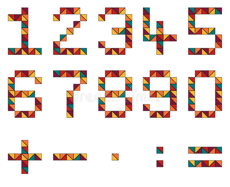 Uppsättning av nummer och matematiksymboler i geometrisk stil som göras av färg stock illustrationer