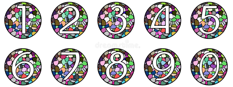 Uppsättning av nummer på mosaik vektor illustrationer