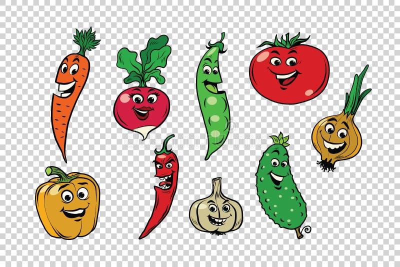 Uppsättning av nya gulliga grönsaktecken stock illustrationer