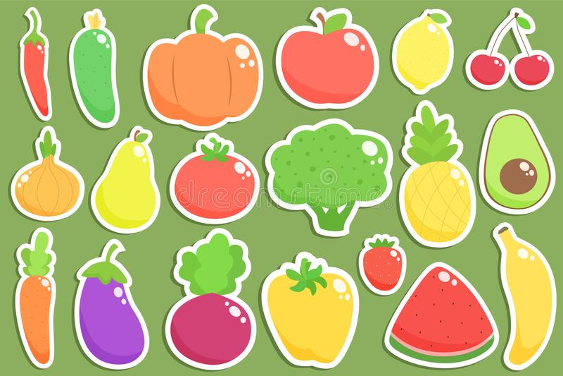 Uppsättning av nya sunda grönsaker, frukter och bärklistermärkear vektor illustrationer