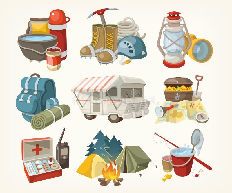 Uppsättning av objekt för att fotvandra stock illustrationer