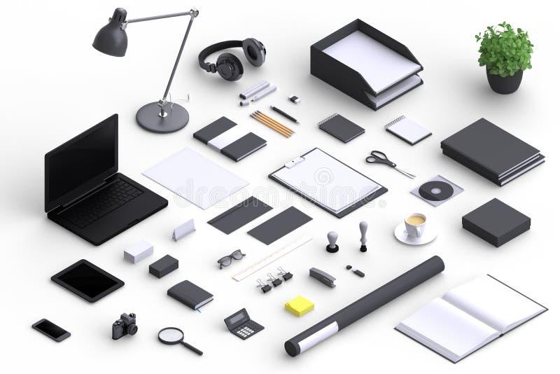 Uppsättning av objekt för variationsmellanrumskontor som organiseras för företagspresentation vektor illustrationer