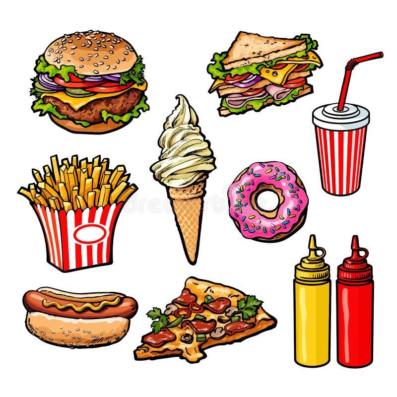 Uppsättning av olik matfastfood royaltyfri illustrationer