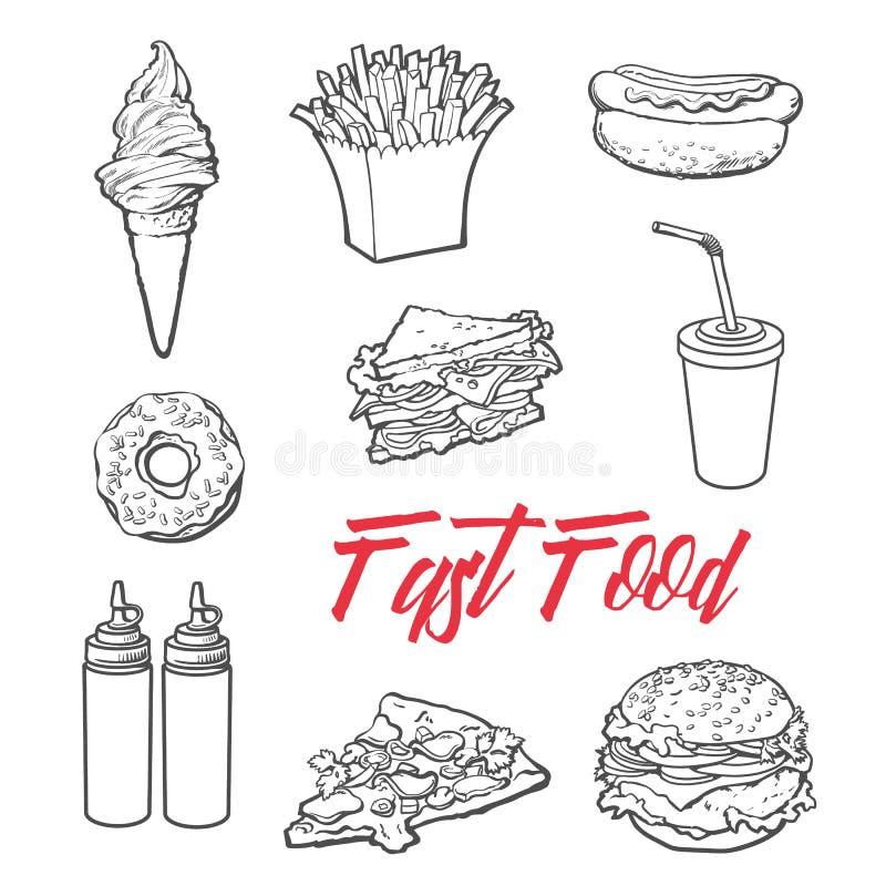 Uppsättning av olik matfastfood vektor illustrationer