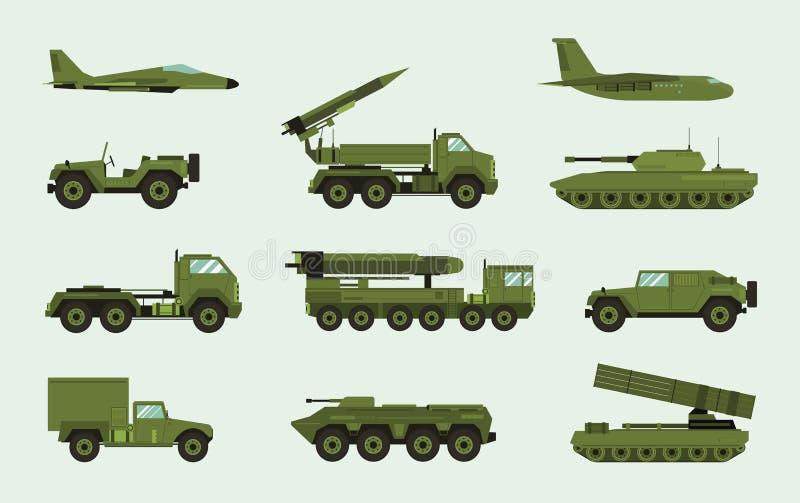 Uppsättning av olik militär transport Modern maskin för utrustningsamlingsstridighet, luftvärn, bil, lastbil, behållare royaltyfri illustrationer
