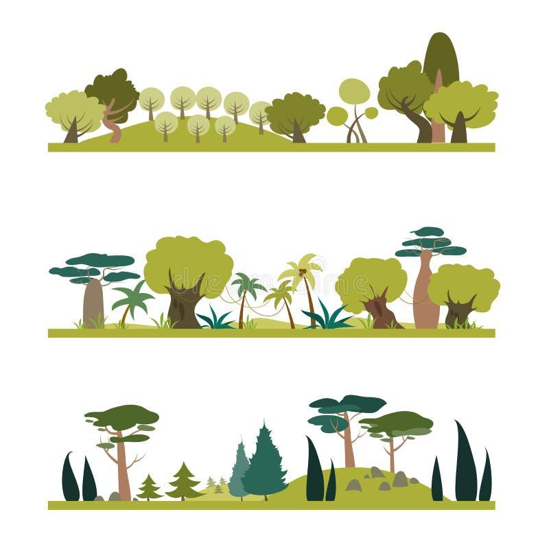 Uppsättning av olik trädart vektor illustrationer
