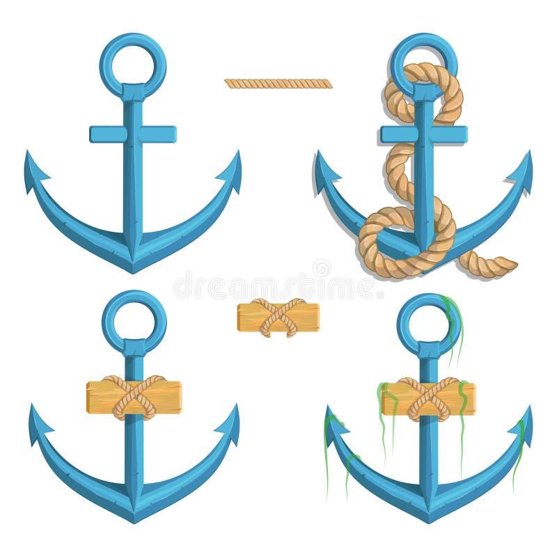 Uppsättning av olika ankaren för marin- design Illustration av ett ankare för skepp` s med ett rep royaltyfri illustrationer