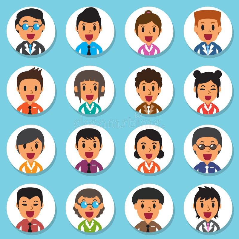 Uppsättning av olika avatars för runda för affärsfolk stock illustrationer