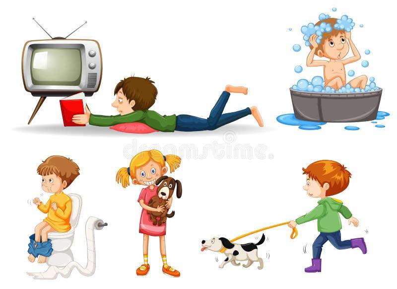 Uppsättning av olika barn som gör aktiviteter vektor illustrationer