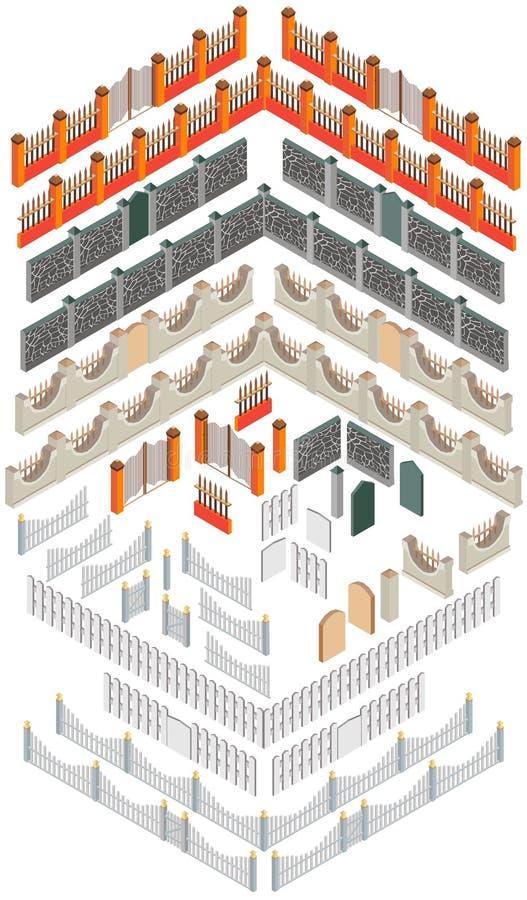 Uppsättning av olika beståndsdelar som skapar staket i den isometriska sikten stock illustrationer