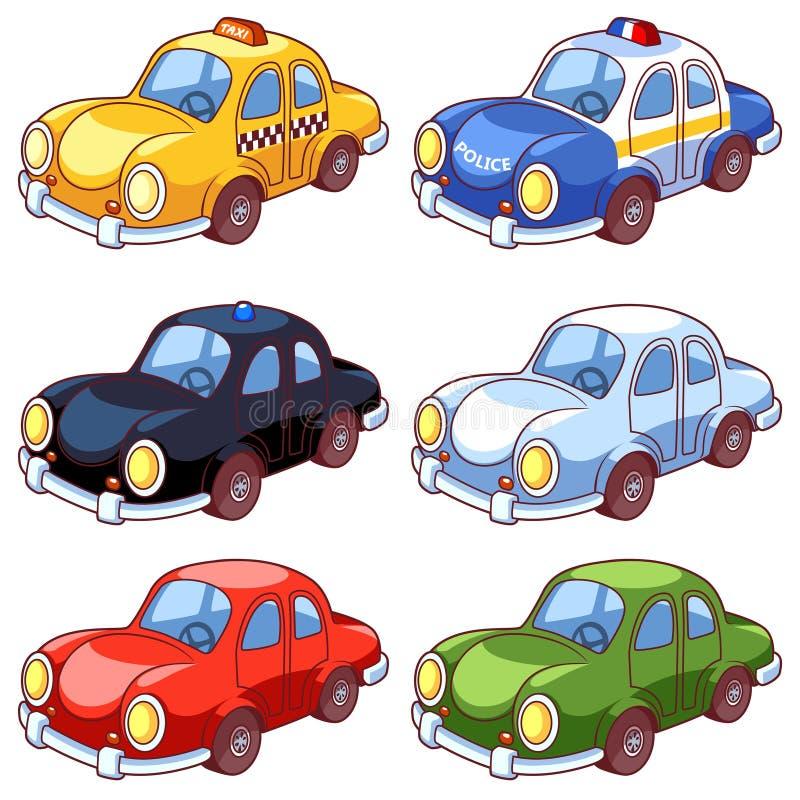 Uppsättning av olika bilar för tecknad film vektor illustrationer
