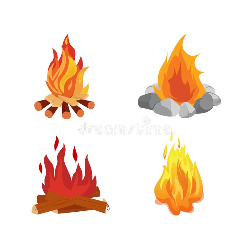 Uppsättning av olika brasor med flamman av brand, lägereldar som campar vektor illustrationer