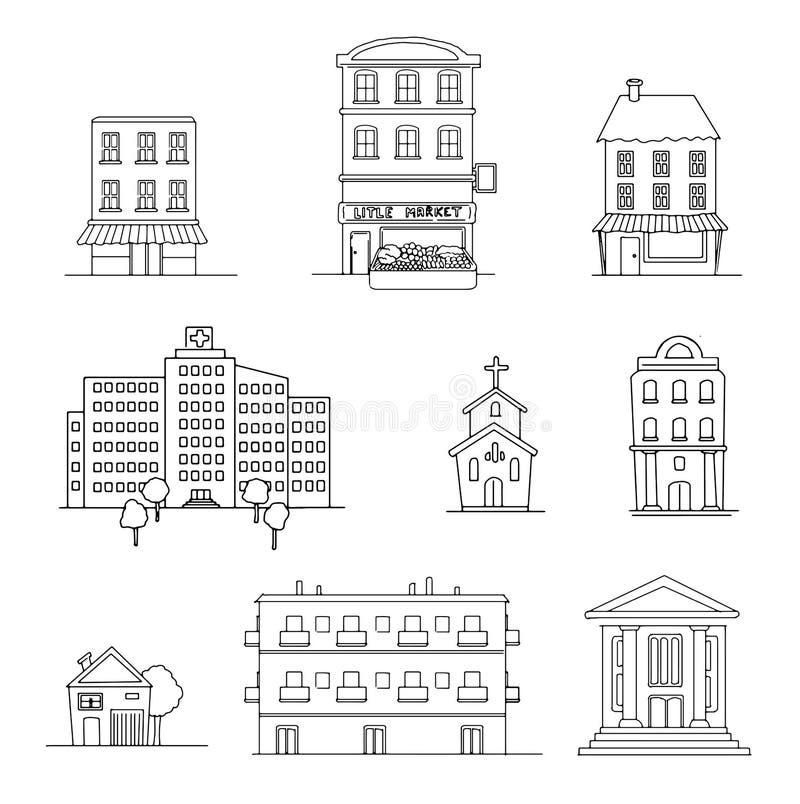 Uppsättning av olika byggnader vektor illustrationer