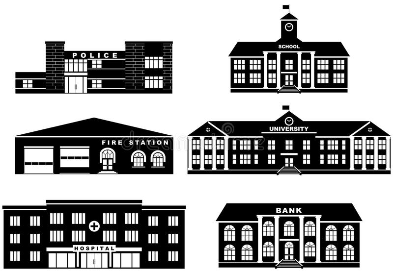 Uppsättning av olika byggnader för konturer på vit bakgrund i plan stil Brandstation, polisen royaltyfri illustrationer