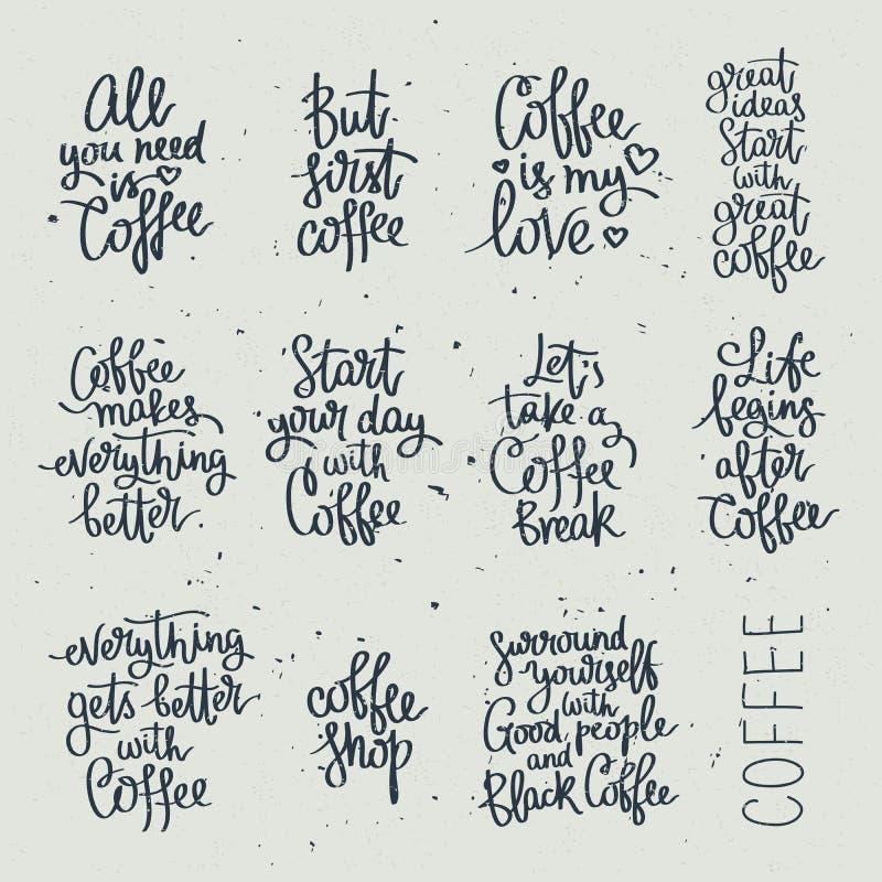 Uppsättning av olika citationstecken om kaffe stock illustrationer