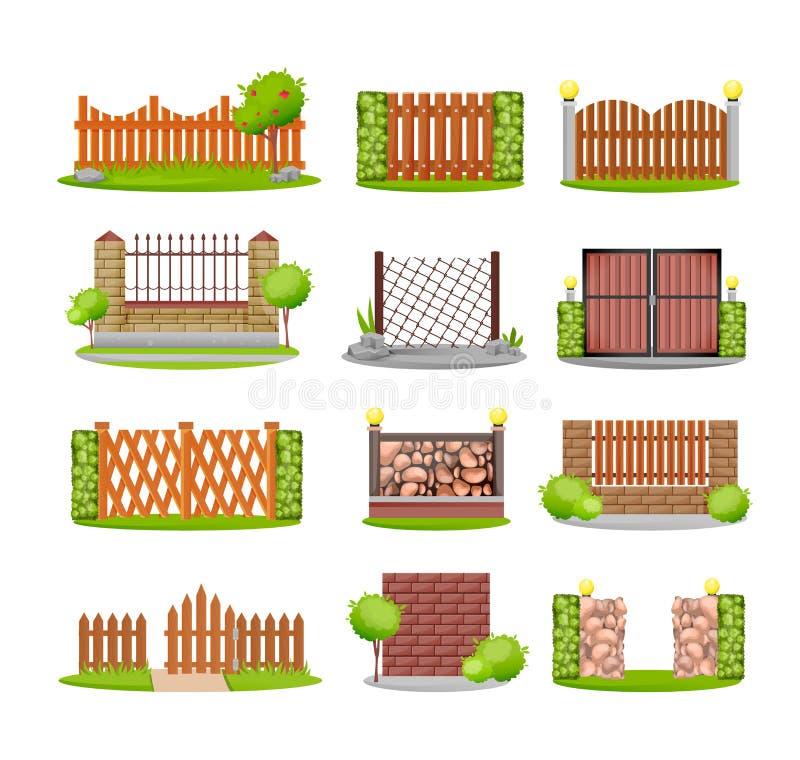 Uppsättning av olika dekorativa trä-, metall- och stenstaket royaltyfri illustrationer